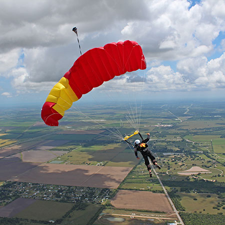 Skydiver flying their canopy